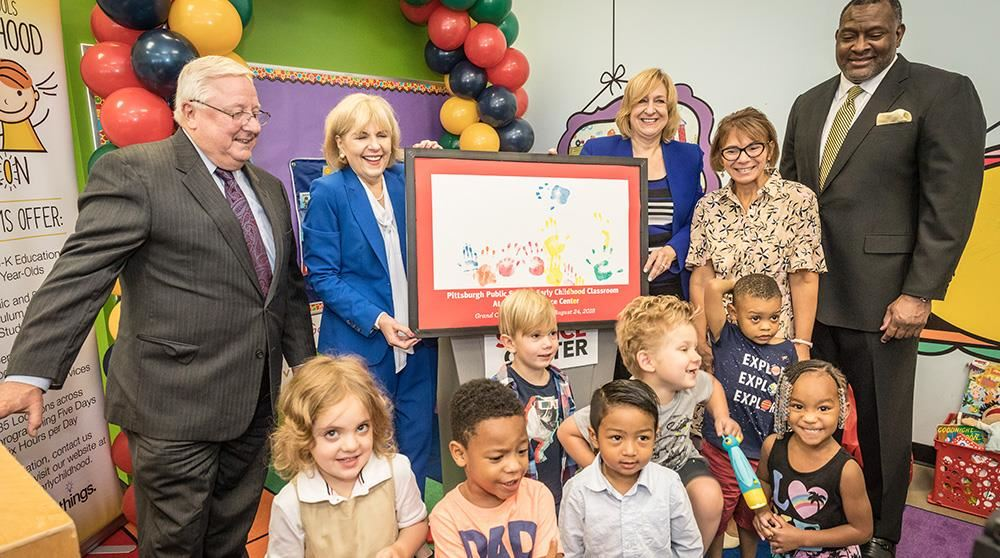 Dr Hamlet and Director Carol Barone-Martin in ECE classroom opening