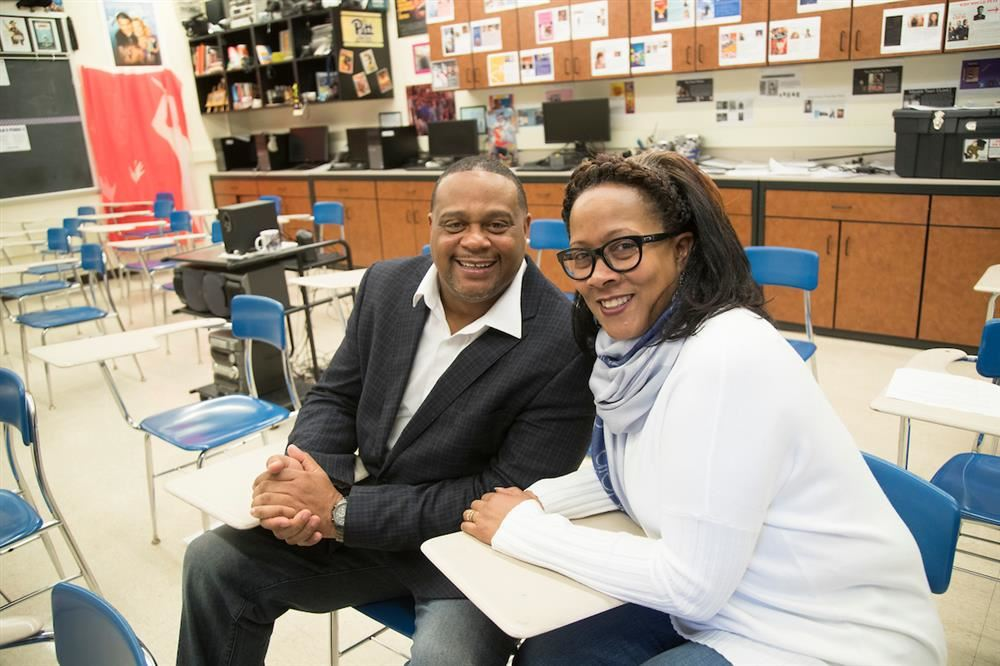 Michelle and Ed Gainey in classroom
