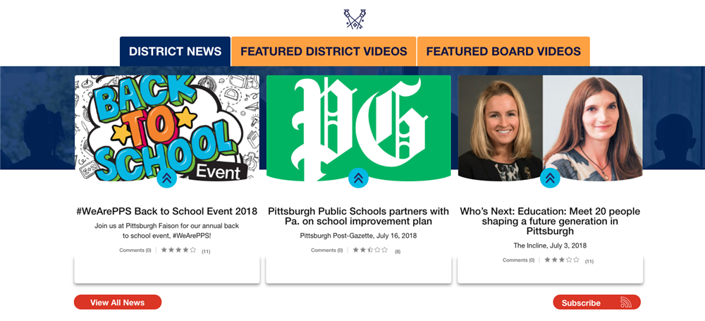 Screen shot of homepage District News Section