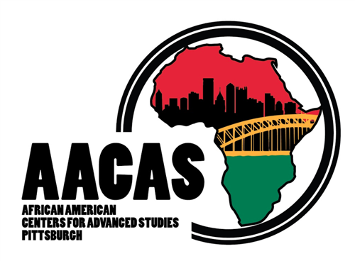 AACAS: African American Centers for Advanced studies of Pittsburgh Logo with Africa continent with pittsburgh city background