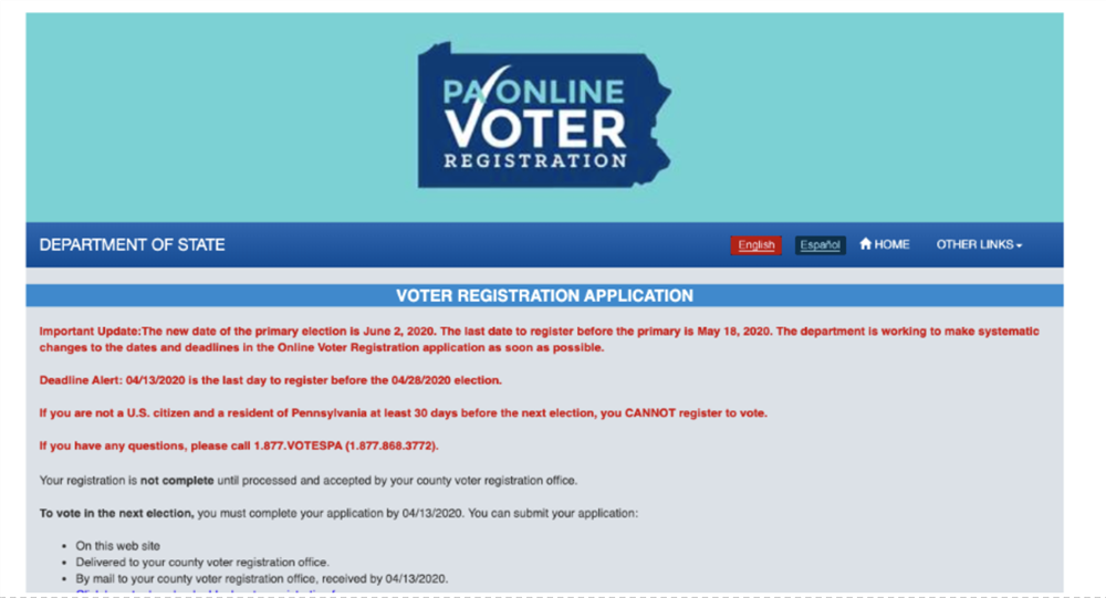 Screenshot of Department of State Voter Registration Application