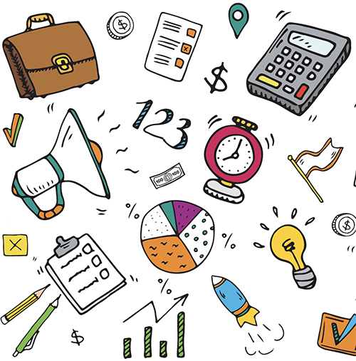 Doodles of charts, money, checklists, calculator